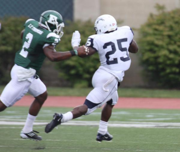 EMU safety Latarrius Thomas made a nice open-field tackle of Howard running back Terrence Leffall to prevent a touchdown late in the first quarter.