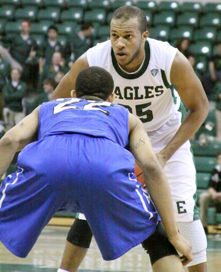 Daylen Harrison looks for a route to the basket